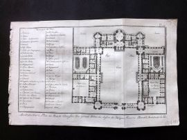 Diderot 1780's Antique Print. Architecture 23 Plan after Blondel